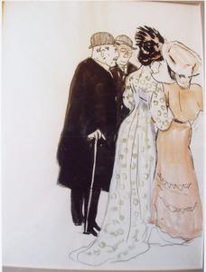 Gezelschap van twee dames en twee heren