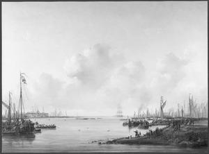 Roeiwedstrijd van zesriems gieken op het IJ te Amsterdam, 10 september 1846
