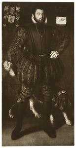 Portret van een onbekende man met jachthond