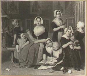 Weesmeisjes op een binnenplaats