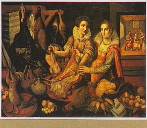Keukenstuk met in de achtergrond Christus in het huis van Martha en Maria