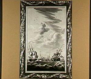 Marine met geschilderde trompe-l'oeil lijst