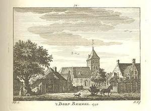 Gezicht in het dorp Bemmel met de kerk