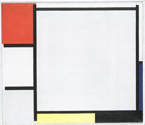 Composition with red, blue, yellow, black and gray