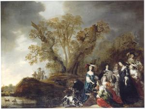 Groepsportret van Mary Stuart I, haar broer Charles als prins van Wales en hun gevolg van dames