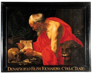 De evangelist Marcus zijn evangelie schrijvend