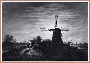 Nachtscene met molen