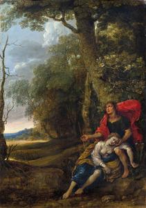 Cephalus en Procris in een landschap