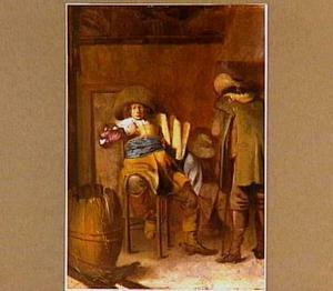 Wachtlokaal met drie soldaten
