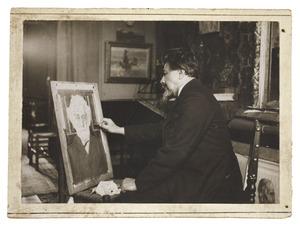 Jan Toorop voor een portretschilderij of -tekening in de Vossiusstraat