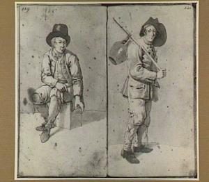 Zittende man met drinkglas en staande man met kruik
