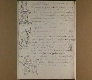 Bladzijde uit het aantekenboekje van Philip Tideman met schetsje van Ongehoorzaamheid, Oproer en Burgerlijke eendracht
