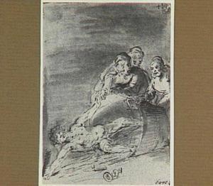 Lazarillo stoot de ton om waarin hij gevangen zit (Lazarillo de Tormes dl. 2, cap. 6, p. 73)