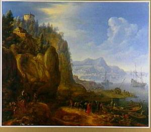 Rijnlandschap met aanlegplaats voor boten