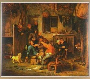 Vechtende boeren na kaartspel in een herberg