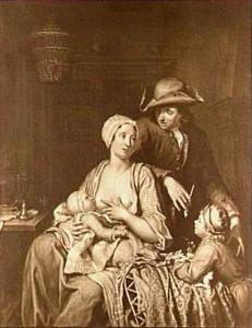 Familiegroep met een moeder die haar kind de borst geeft