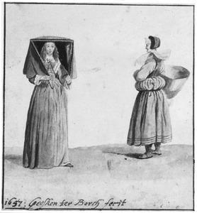 Twee vrouwen in klederdracht uit Münster
