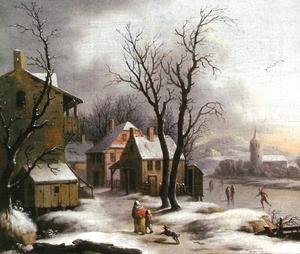 Dorp in de winter met schaatsers op de bevroren rivier