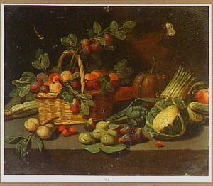 Stilleven met vruchten in een mand en diverse groente