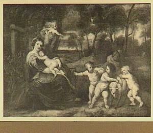 Madonna met kind met putti in een landschap