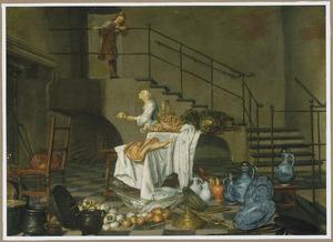 Keukenmeid en dienstbode in een interieur met voedsel en vaatwerk