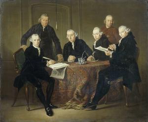 Portret van de regenten van het Leprozenhuis, van links naar rechts: R.J. van den Broeke, de secretaris H. van Veen, J. Veening, M. van Son, de huisvader H. Linteloo en D. Noltenius
