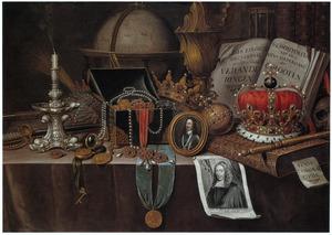 Vanitasstilleven met regalia, en portretten van de koningen Charles I van Engeland, Henri IV van Frankrijk en Johan de Wit