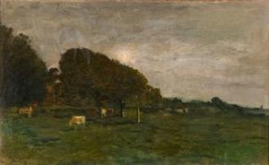 Landschap met koeien bij maanlicht