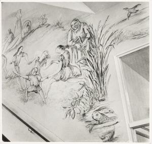 Detail van Fiedlers wandschilderingen in het trappenhuis van de ASVO-school aan het Frederiksplein in Amsterdam.