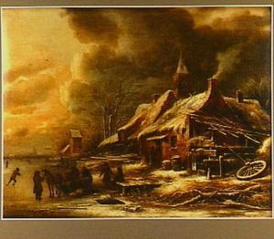 Winterlandschap met figuren bij een dorp