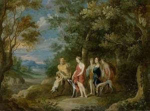 Boslandschap met Diana, haar nimfen en saters