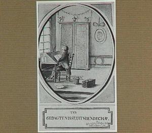Student in een interieur