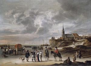 Gezicht op Scheveningen met het vertrek van Charles II, Koning van Engeland in 1659