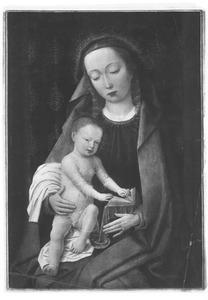 Maria met het Christuskind, bladerend in een boek