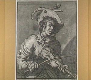 Lachende violist met hoed, ten halven lijve