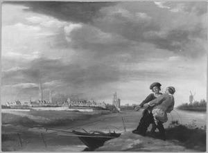 Gezicht op Zwolle met rechts de Diezepoort; op de voorgrond twee vissers