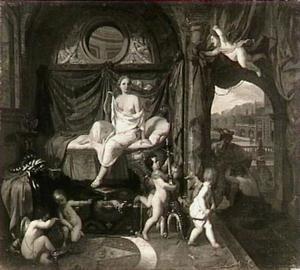 Mercurius verandert Aglauros, zuster van Herse, in een rots en bezoekt Herse