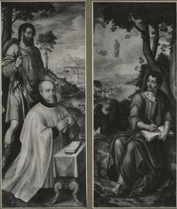 De H. Jodocus met stichter (links); de H. Johannes de Evangelist op Patmos (rechts)