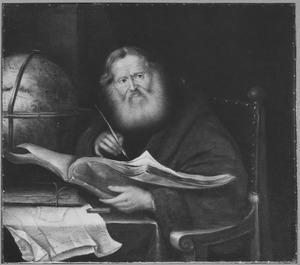 Schrijvende oude geleerde