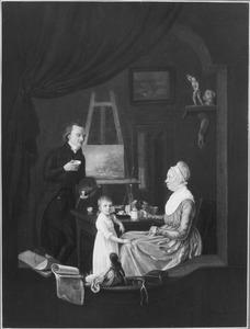 Zelfportret van de schilder in zijn atelier, met zijn echtgenote Cornelia van Bommel en een kind, mogelijk zijn zoon Cornelis Hendrik van Amerom (1804-1874)