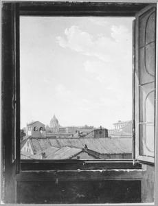 Gezicht op de Sint Pieter te Rome, gezien vanuit een raam