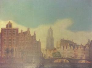 De bocht in de Oudegracht in Utrecht met de Bakkersbrug