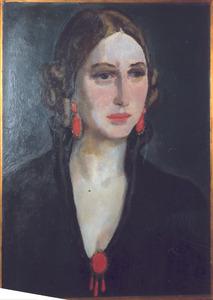 Portret van Greet, met oorbellen en bloedkoralen speld