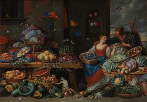 Uitstalling van vruchten en groente met een amoureus paar