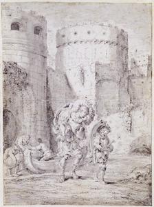 Aeneas draagt zijn vader Anchises op zijn rug uit het brandende Troje (Aen. 2:671-729)