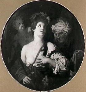 Judith en haar dienares met Holofernes hoofd in een tas (Judith 13:11)