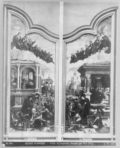 Drie werken van Barmhartigheid: het laven van dorstigen, het verzorgen van zieken, het herbergen van vreemdelingen (links); Drie werken van Barmhartigheid: het kleden van de naakten; het bijstaan van stervenden, het bevrijden van gevangenen (rechts)