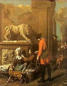 Jagers bij een eieren verkopende vrouw aan de voet van een klassiek beeld van een leeuw