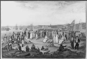Vreugdebetoon te Port Mahon, 17 maart 1826, bij de terugkeer van een tiental bevrijde Spanjaarden uit gevangenschap van de Dey. In de haven een Nederlands eskader onder Schout-bij-Nacht C.J. Wolterbeek