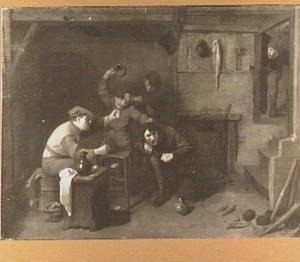 Vier vechtende mannen in een herberg
